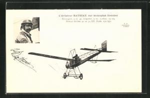 AK Pilot Bathiat im Flugzeug vom Typ Sommer