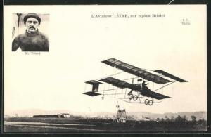 AK Pilot M. Tétar im Doppeldecker-Flugzeug vom Typ Bristol