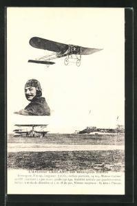 AK Pilot Leblanc im Flugzeug vom Typ Blériot