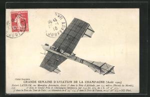 AK Grande Semaine d`Aviation de la Champagne 1909, Pilot Latham im Flugzeug des Typs Antoinette