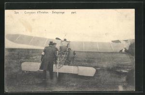 AK Spa, Concours d`Aviation, Pilot Delagrange in seinem Flugzeug