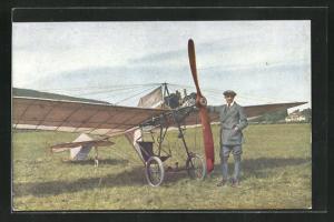 AK Pilot Roever auf Grade-Eindecker-Flugzeug