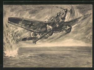 Künstler-AK Vernichtung eines feindlichen U-Bootes durch Stuka-Volltreffer