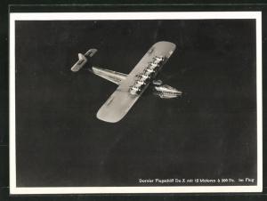 AK Dornier Flugschiff Do X im Flug über einem Gewässer