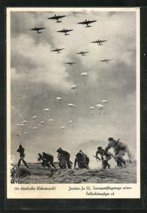AK Junkers Ju 52 Transportflugzeuge setzen Fallschirmjäger ab