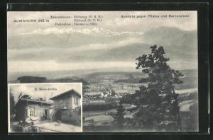 AK Hausen am Albis, Restaurant Albishorn v. Meier-Rötlin, Aussicht gegen Pilatus und Berneralpen,