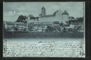 Mondschein-AK Porrentruy, Blick von der Blumenwiese auf das Schloss