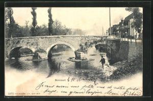AK Boncourt, Ortspartie mit Flussbrücke und Lokomotive