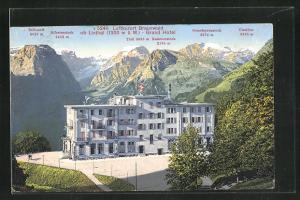 Künstler-AK Braunwald, Grand Hotel mit Gebirgskette