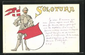 Künstler-AK Solothurn, Ritter mit Flagge und Wappen