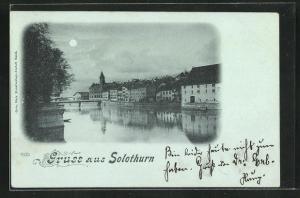 Mondschein-AK Solothurn, Ortspartie mit Flussbrücke