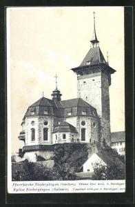 Künstler-AK Niedergösgen, Blick auf die Pfarrkirche