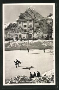 AK Braunwald, Hotel Braunwald, Schlittschuhläufer