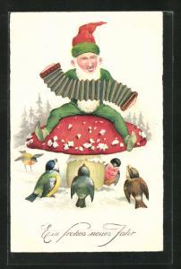 AK Zwerg sitzt musizierend auf einem Fliegenpilz, Ein frohes neues Jahr