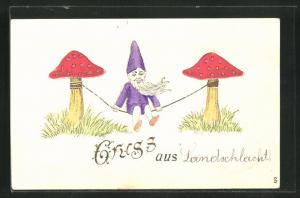 AK Zwerg sitzt auf einem Seil zwischen zwei Pilzen, Gruss aus...