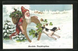 AK Zwerg bringt Klee und ein Hufeisen, Herzliche Neujahrsgrüsse