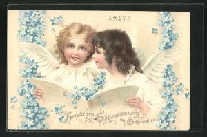 Präge-AK Engel mit Liederbuch und Vergissmeinnicht, Herzlichen Segenswunsch zur Konfirmation