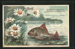 Präge-AK Fisch taucht am Seeufer auf, Gruss zum 1. April