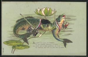 Präge-AK Fisch mit Glas in der Flosse tummelt sich unter einer Seerose, Gruss zum 1. April
