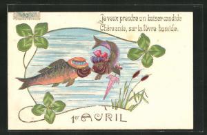 Präge-AK Fische mit Hut und Schirm küssen sich unter Wasser, Gruss zum 1. April