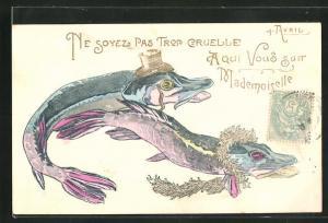 Präge-AK Vermenschlichte Fische mit Hut gratulieren zum 1. April