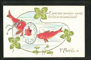 Präge-AK Rote Fische mit Hut schwimmen durch einen Reifen, Gruss zum 1. April