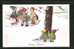 AK Zwerge beobachten die Kinder mit ihrem Schlitten voller Geschenke, Bonne Année