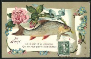 Präge-AK Fisch hält eine Rose mit blauer Schleife im Maul, Gruss zum 1. April