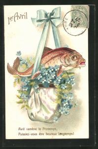 AK Fisch liegt auf Vergissmeinnicht-Blüten, Gruss zum 1. April