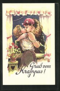 AK Krampus küsst die Frau am Fenster, Gruss vom Krampus