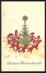 AK Zwerge tanzen um den Tannenbaum, Herzliche Weihnachtsgrüsse