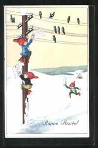 AK Zwerge klettern auf den Telegraphenmast, Bonne Année