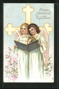 Präge-AK Engel stimmen ein Lied an, Herzlichen Glückwunsch zur Konfirmation