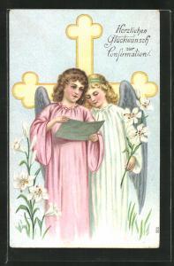Präge-AK Engel stimmen vor dem Kreuz ein Lied an, Glückwunsch zur Konfirmation