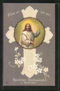 Präge-AK Jesus hebt segnend die Hand, Glückwunsch zur Konfirmation