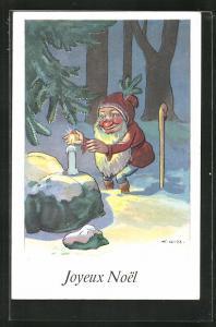 AK Zwerg zündet eine Kerze im Wald an, Joyeux Noel