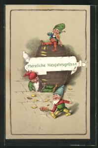 Präge-AK Zwerge musizieren zum Jahreswechsel, Herzliche Neujahrsgrüsse