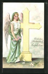 Präge-AK Engel steht am Kreuz, Glückwunsch zur Konfirmation