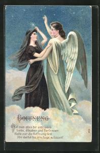 Präge-AK Engel in den Wolken gibt der trauernden Frau wieder Hoffnung
