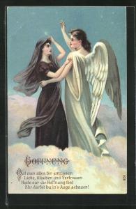 Präge-AK Trauernde Frau blickt andächtig zum Engel, Hoffnung