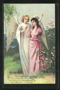 Präge-AK Junges Mädchen betet zum Engel, Glaube