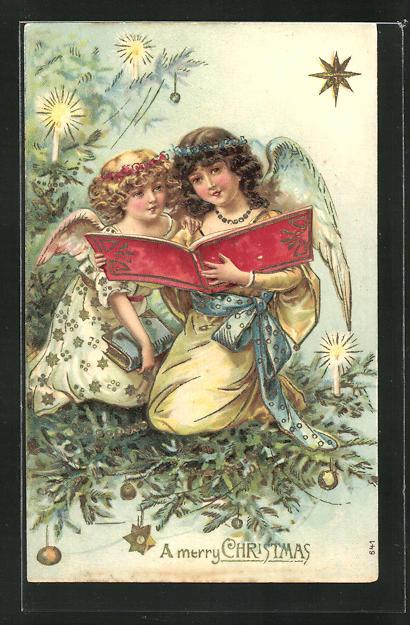 Präge-AK Weihnachtsengel sitzen in den Tannenzweigen und lesen ein Buch, A merry Christmas 0