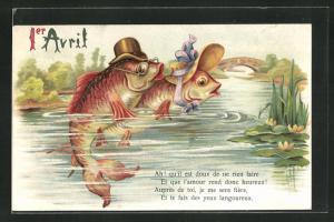 AK Vermenschlichte Fische mit Hut und Brille blicken aus dem Wasser, Gruss zum 1. April