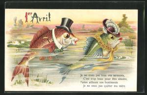 AK Vermenschlichte Fische mit Hut und Spazierstock blicken aus dem Wasser, Gruss zum 1. April