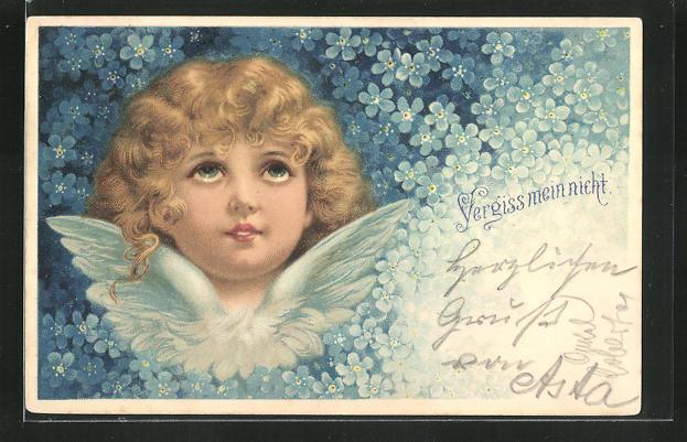 AK Vergissmeinnicht-Blüten umrahmen einen Engel mit lockigem Haar 0