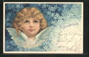 AK Vergissmeinnicht-Blüten umrahmen einen Engel mit lockigem Haar