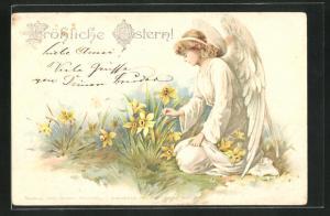 AK Osterengel kniet auf der Wiese und pflückt Osterglocken, Fröhliche Ostern