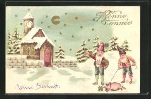 Präge-AK Zwerge führen ein Schwein an der Leine, Bonne Année, Neujahr