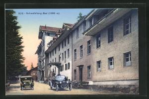 AK Schwefelberg-Bad, Strassenpartie mit Gebäudeansicht und Autos