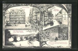 AK Melsungen, Blick in die Brückenstrasse, Alte Bürgerbrücke